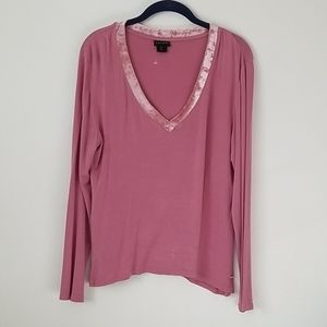 Tahari Dusty Pink Long Sleeve V-neck Top in Large
